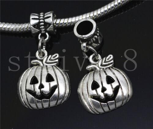 New 6//30//100pcs Antique Silver Pumpkin head Bulk Dangle European Charms Bracelet