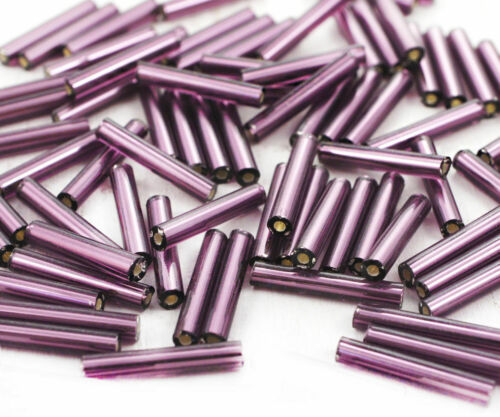 100pcs x 15mm Extra Long Silver Lined Round Czech Glass Bugle Beads PRECIOSA ...