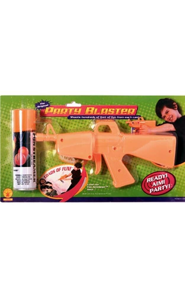 FUN STREAMER SILLY STRING AND BLASTER GUN PARTY FAVOUR DECORATION