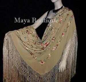 d51820329 Image is loading Flamenco-Embroidered-Silk-Piano-Shawl-Wrap-Wheat-Floral-