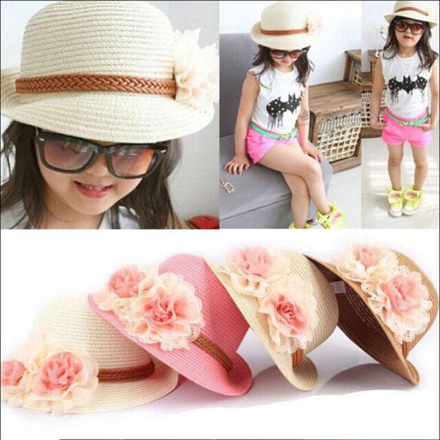 Toddlers Infants Baby Girls Flower Summer Straw Sun Beach Hat Cap 2-7Year TDCA