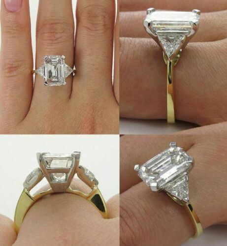 New VVS1 5.35 Ct Emerald Cut Diamond Fine 925 Sterling Silver Engagement Ring