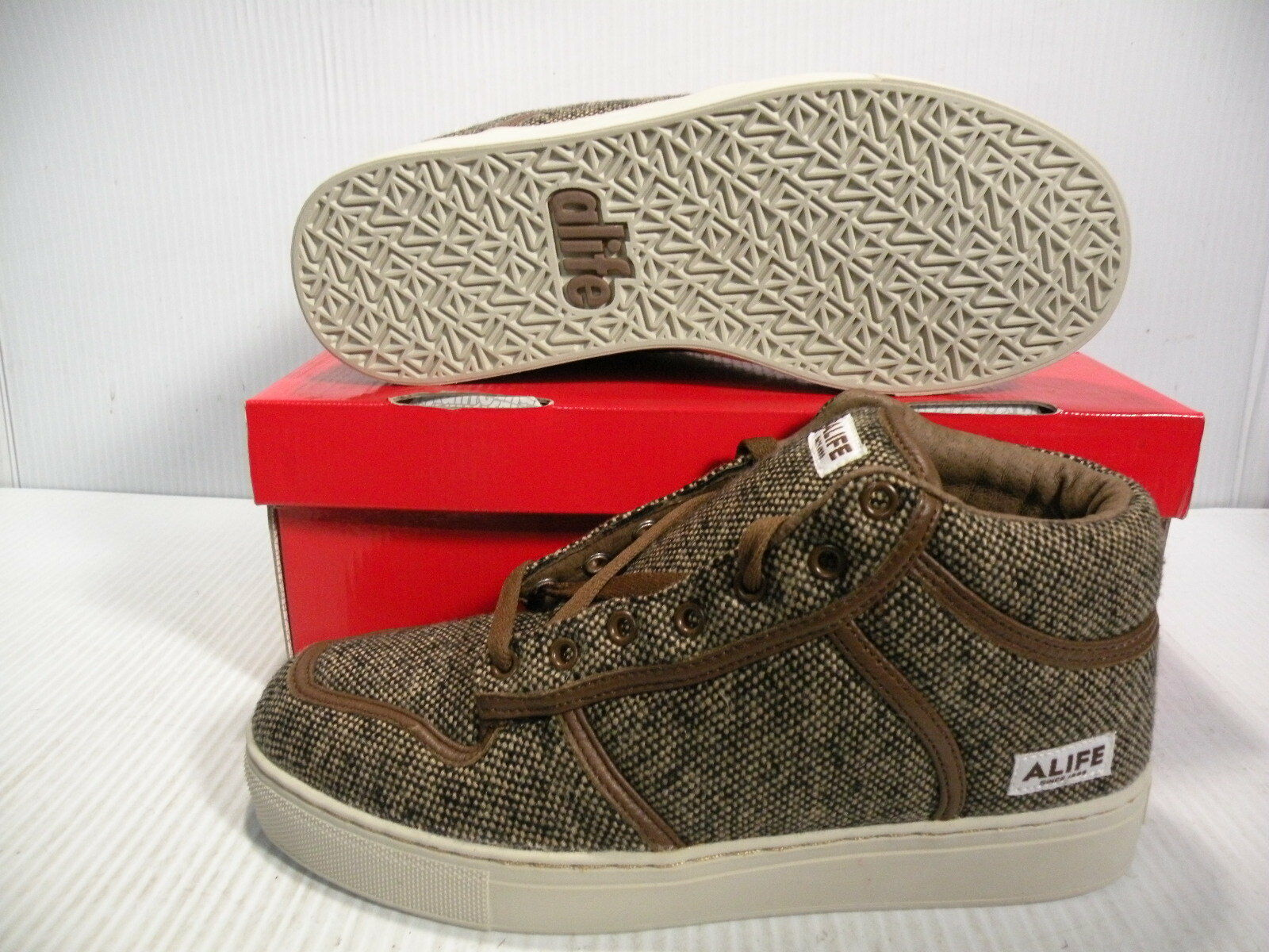 ALIFE EVERYBODY MID TWEED SNEAKERS MEN SHOES BROWN F92EVMT1 SIZE 6.5 NEW
