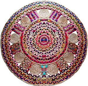 Handmade Braided Jute Cotton Mix Multi Color Area Rug 3x3