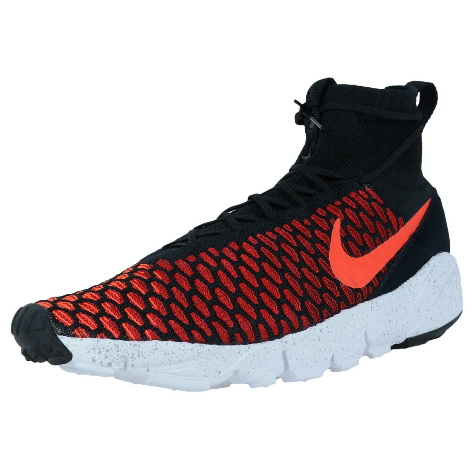 NIKE AIR FOOTSCAPE MAGISTA FLYKNIT SNEAKERS BLACK BRIGHT CRIMSON RED 816560 002