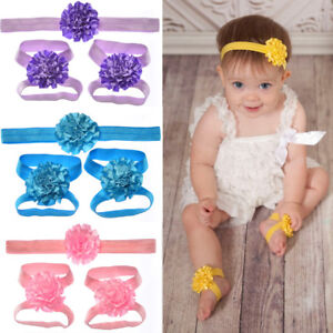 Newborn Baby Girl Kids Infant Headband Foot Flower Elastic Hair Band HK