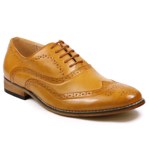 Men/'s Wing Tip Perforated Lace Up Oxford Dress Shoes