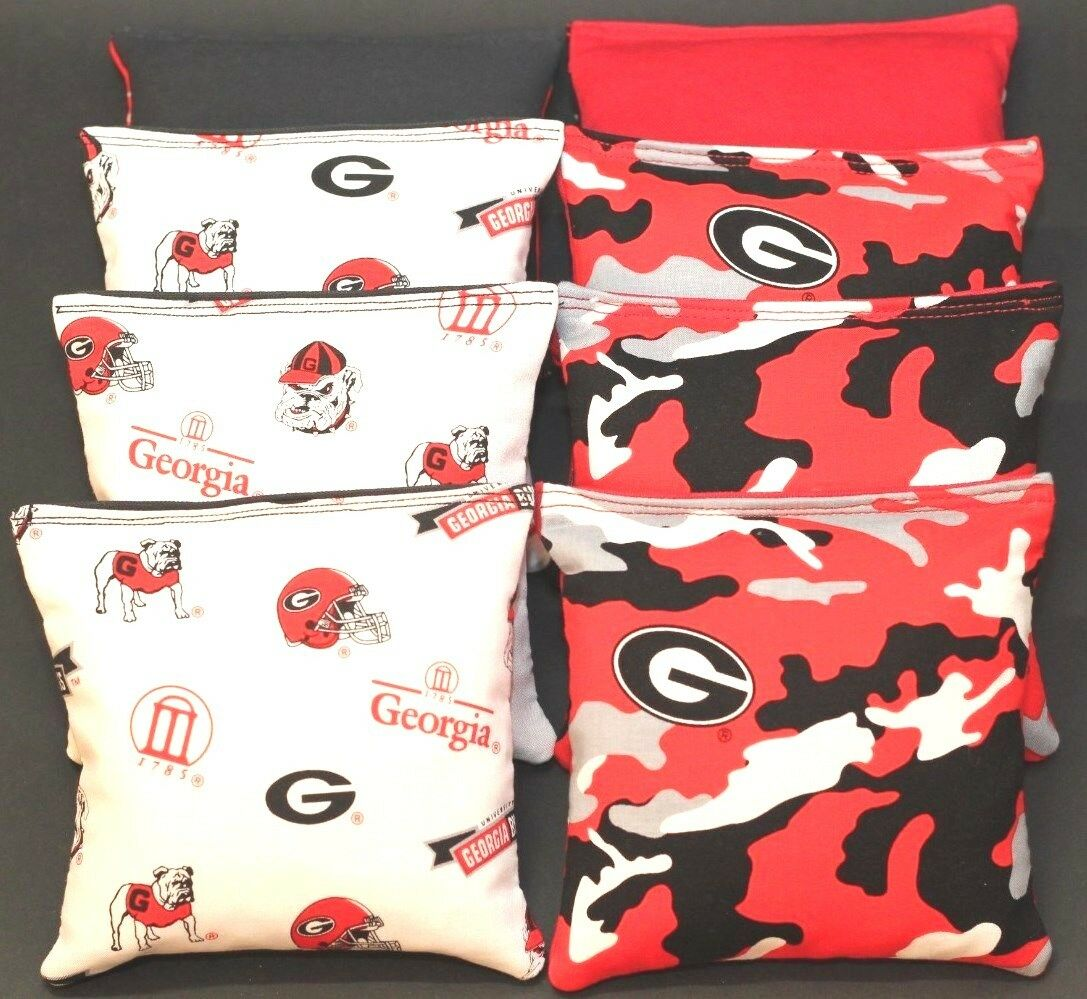 ALL WEATHER University of GEORGIA BULLDOGS 8 Resin Filled Cornhole Bean Bags NEW