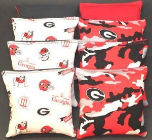 ALL WEATHER University of GEORGIA BULLDOGS 8 Resin Filled Cornhole Bean Bags NEW