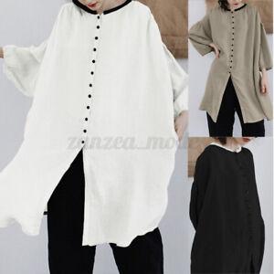 Mode-Femme-Chemise-a-Manche-Tops-Loisir-Longue-Boutons-Casual-Ample-Shirt-Plus