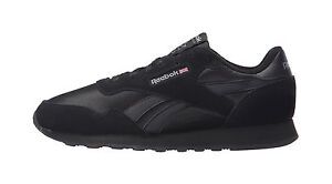 Reebok-Men-Royal-Nylon-Suede-Material-Classic-Shoes-All-Black-Sneakers