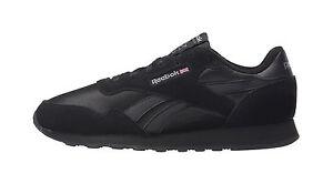 ec12fcb9d87 Reebok Men Unisex Royal Nylon Suede Material Classic Shoes All Black ...