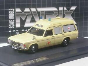 Opel Admiral B Miesen Ambulance Lwb Ivoire Matrix Mx11502-051 1/43 Résine Résine