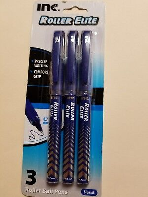 3 ROLLER BALL ELITE INC BLACK INK PEN O.7MM COMFORT GRIP CONTROLLED FLOW UNI