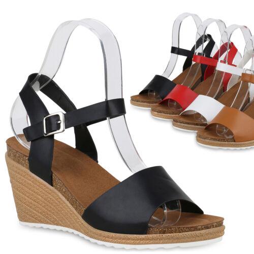 Damen Sandaletten Keilsandaletten Keilabsatz Sommer Schuhe Wedges 830218 Trendy