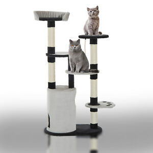 55-034-Cat-Scratching-Tree-Kitten-Towers-Activity-Center-with-Condo-Post-Gray