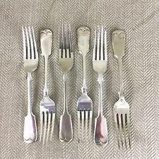 Antique Silver Plated Cutlery Large Fork Forks Victorian Fiddle back Set of 6