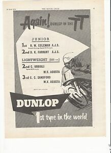 Dunlop tyres TT results classic motorcycle period advert June 1954 - <span itemprop='availableAtOrFrom'>portsmouth, Hampshire, United Kingdom</span> - Dunlop tyres TT results classic motorcycle period advert June 1954 - portsmouth, Hampshire, United Kingdom