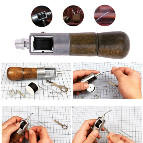 Leather Craft Automatic Lock DIY Hand Stitching Sewing Tool Awl Set 2 Needle