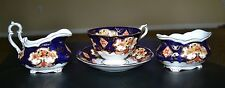 Royal Albert Bone China England Heirloom Floral Blue Tea Cup, creamer, sugar set