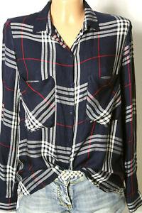 ZARA-Bluse-Gr-S-blau-grau-rot-kariert-Karo-Langarm-Hemd-Bluse