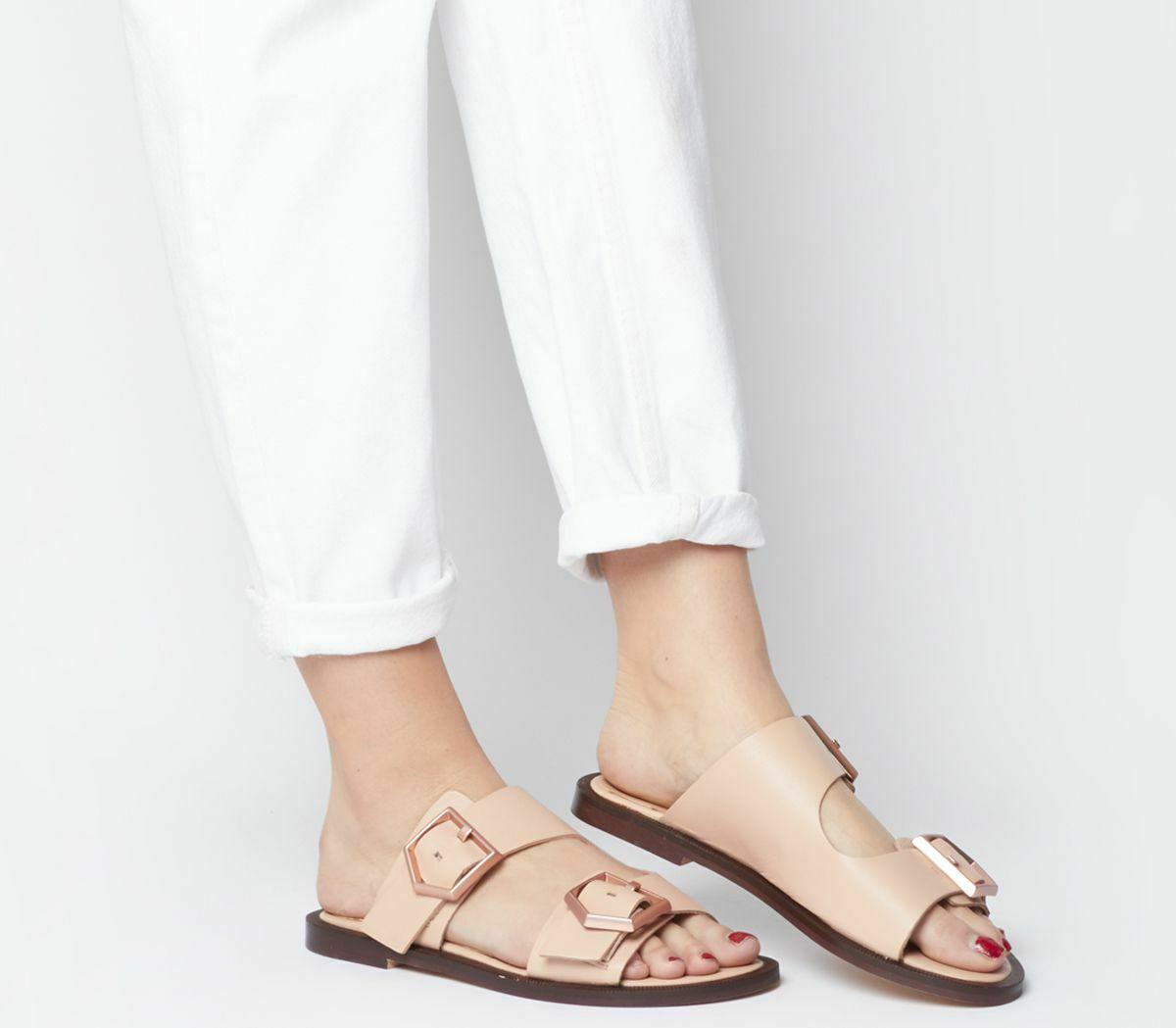 Womens Office Sage Double Buckle Sandals Nude Leather pink gold Buckles Sandals