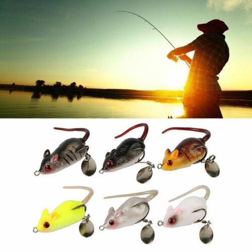 4X Large Rubber Maus Fischerei Lures Baits Top WaterTackle Hook Bass köder K0J9