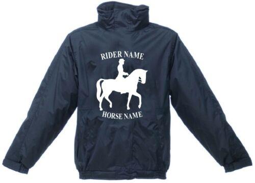 PERSONALISED PRINTED JACKET HORSE RIDER EQUESTRIAN WATERPROOF ADULTS KIDS COATS