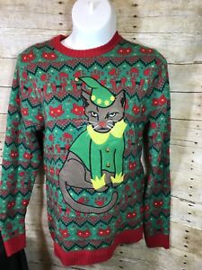 Angry Cat Elf Green Red Ugly Christmas Sweater Unisex Xxl 33 Degrees