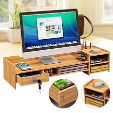Wood Desk Organizer Office Home Computer Monitor Stand Holder Desktop Storage Us