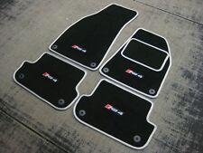 Black/Silver Car Mats to fit Audi RS4 B7 (2006-2008) + RS4 Logos (x4) + Fixings