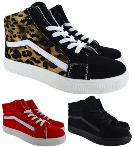 LADIES WOMENS LACE UP CANVAS RUNNING GYM SNEAKER HI TOP PUMPS TRAINERS SHOES SZ