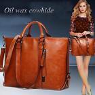 Women Vintage Oil Leather Handbag Tote Shoulder Satchel Laptop Messenger Bag SS