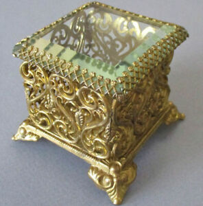 "Antique Petite 3"" GILT Ormolu FILIGREE Jewelry Casket BEVELED Glass Top Footed"