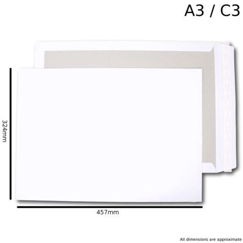 25 A3//C3 blanco duro sobres respaldados por Junta Peel /& Seal 457 X 324 120gsm