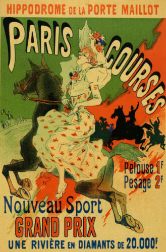 PARIS COURSES HIPPODROME RACE GIRL RIDING HORSE FRENCH VINTAGE POSTER REPRO