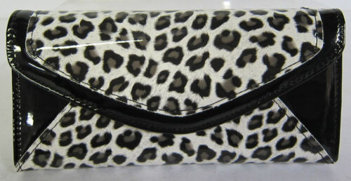 Patent Leopard Print Bifold Purse Brown Ella Purse 72590 White Pink