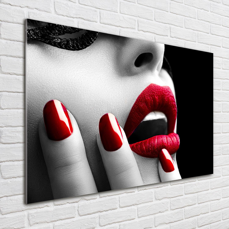 Glas-Bild Wandbilder Druck auf Glas 100x70 Deko Sinnlichkeit  Spitzen-Maske