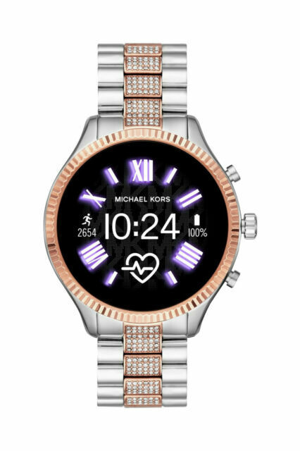 Michael Kors Access Lexington 2 44mm Case Pave Rose Gold Silver Stainless Steel With Bracelet Link Band Mkt5081 For Sale Online Ebay
