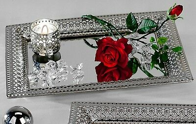Deko Spiegeltablett ROMANTIK, Metall + Glas, silber, 22x32cm, eckig, Formano