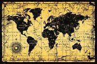 World Map Antique Old Style Poster Print 24x36
