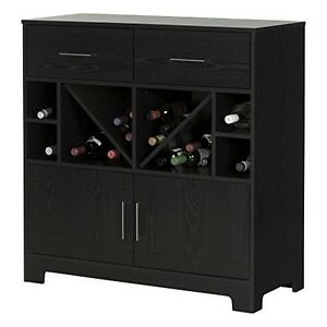 South Shore 10470 Vietti Bar Cabinet with Bottle Storage and Drawers Black Oak