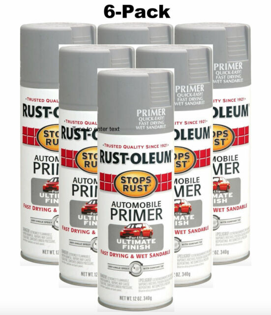 Rust-Oleum Automotive FLAT GRAY PRIMER SPRAY PAINT STOPS RUST 12 oz Cans 6  PACK