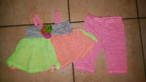Glorious Jessica Ann Size 3-6 Months Baby/infant Girl's Outfit Neon Stripes Baby & Toddler Clothing Beneficial To Essential Medulla