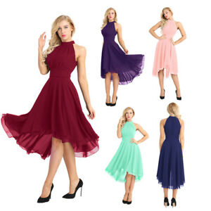 c133a9edd87 Women Halter High-low Formal Party Long Short Bridesmaid Dress ...