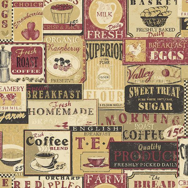 G12297 - Kitchen Recipes Tea Coffee Labels Beige Red Galerie Wallpaper
