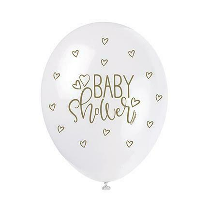 5 Pearl Gold Baby Shower Latex Balloons Hearts Decorations Helium Quality