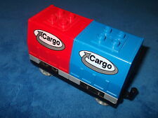LEGO Duplo großer Cargo Cargowaggon Waggon Intelli BLAU ROT 2 Aufsätze