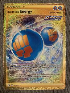 Rapid Strike Energy 182/163 Battle Styles Pokemon card! SECRET RARE! GOLD!