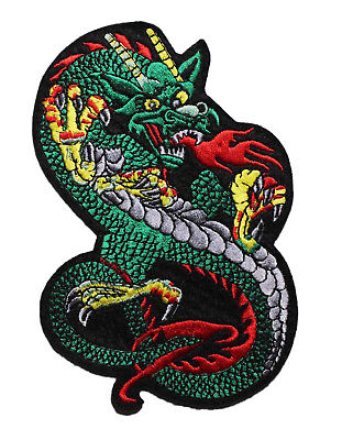 DRAGON WINGLESS GREEN DRAGON FULLY EMBROIDERED IRON ON APPLIQUE PATCH